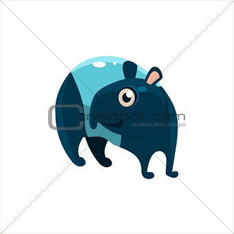 Blue Tapir Flat Vector Illustration