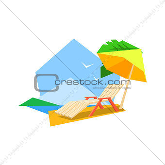 Beach Sunbed And Umbrella