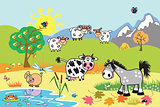 cartoon farm animals illustration