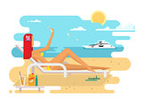 Girl on beach design flat