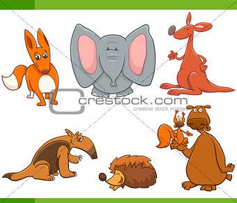 cartoon wild animals set