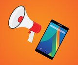 mobile marketer promotion with smartphone and megaphone