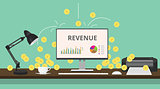 online business review with gold coin computer illustration on desk