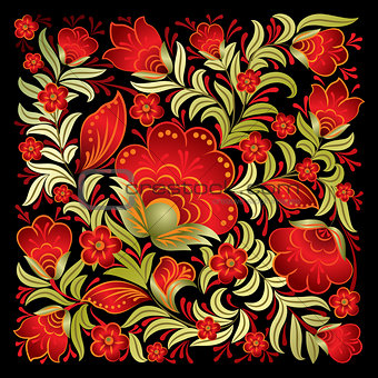 abstract red floral ornament isolated on black