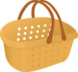 Shopping plastik empty yellow  basket icon isolated on white