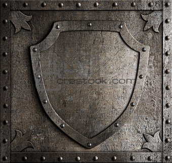 old medieval coat of arms shield over armour plate