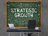 Strategic Growth Concept. Doodle Icons on Chalkboard.