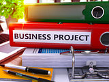Red Ring Binder with Inscription Business Project.