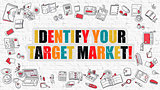 Identify Your Target Market on White Brick Wall.