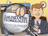 Engineering Technologies through Magnifier. Doodle Style.