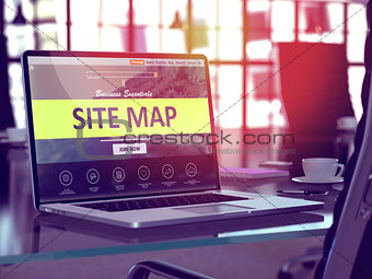 Site Map Concept on Laptop Screen.
