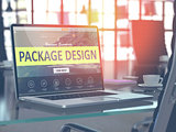 Laptop Screen with Package Design Concept.