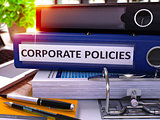 Blue Office Folder with Inscription Corporate Policies.