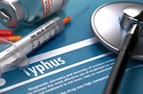 Typhus. Medical Concept on Blue Background.