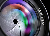 Closeup Lens of Digital Camera with Web Tv.