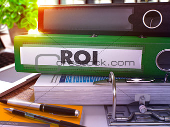 Green Office Folder with Inscription ROI.