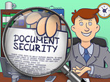 Document Security through Magnifying Glass. Doodle Style.