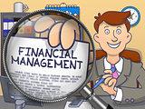 Financial Management through Magnifier. Doodle Concept.