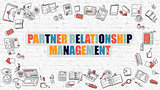 Partner Relationship Management Concept with Doodle Design Icons.