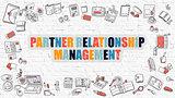 Partner Relationship Management Concept with Doodle Design Icons.