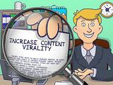 Increase Content Virality through Magnifier. Doodle Concept.