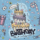 Seamless texture of blue colored doodles to birthday
