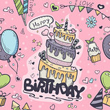 Seamless texture of pink colored doodles to birthday