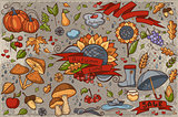 Big set of colored hand-drawn doodles on autumn theme