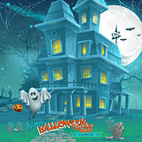 Cartoon night a mysterious haunted house in the moonlight