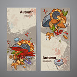 Set vertical banners of colored autumn doodle