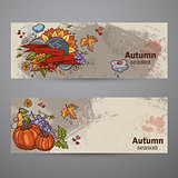 Set horizontal banners of colored autumn doodle