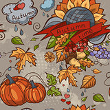 Colored contour seamless texture autumn theme