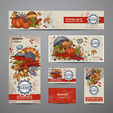 Vector set of autumn flyers, cards, banners