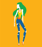 Fashion shopping girl vector illustration