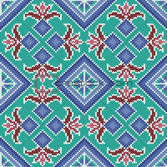 Knitted Seamless Pattern in turquoise and blue hues