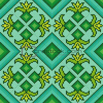 Knitted Seamless Pattern in turquoise, green and yellow