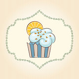 Vector cupcake with orange slice. Vector illustration