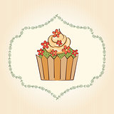 Vector cupcake with flowers and leaves. Vector illustration