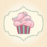 Vector cupcake with pearls. Vector illustration
