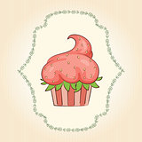 Vector cupcake look like strawberry. Vector illustration