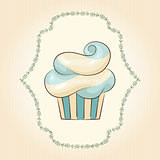 Vector waved cupcake. Vector illustration