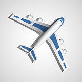 Vector blue airplane top view
