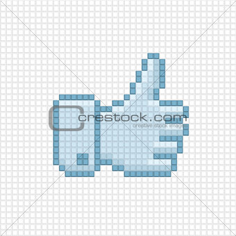 Thumb up icon of pixel art style.
