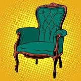 Green soft chair furniture armchair vector