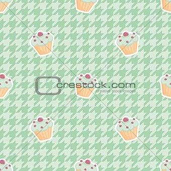 Tile cupcake vector pattern
