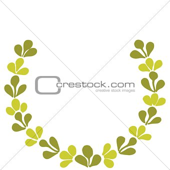 Green vector laurel wreath isolated on white background
