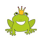 Frog with crown vector isolated on white background
