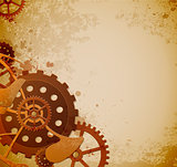 Steampunk background with gears