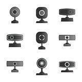 Set  icons webcam, vector illustration.