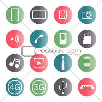 A set of mobile icons, vector illustration.
